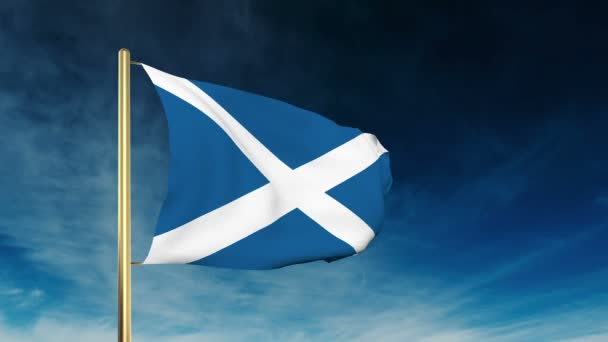Scotland flag slider style. Waving in the win with cloud background animation