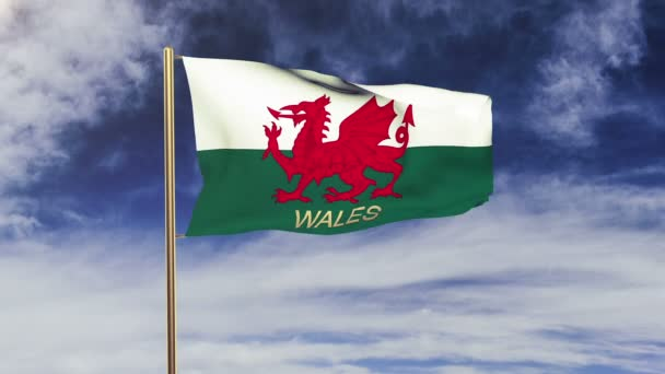 Wales flag with title waving in the wind. Looping sun rises style.  Animation loop