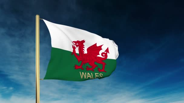 Wales flag slider style with title. Waving in the wind with cloud background animation