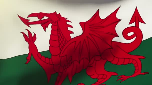 Ve větru mává vlajka Walesu. Styl slunce stoupá. Animační smyčka