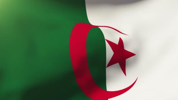 Algeria flag waving in the wind. Looping sun rises style.  Animation loop