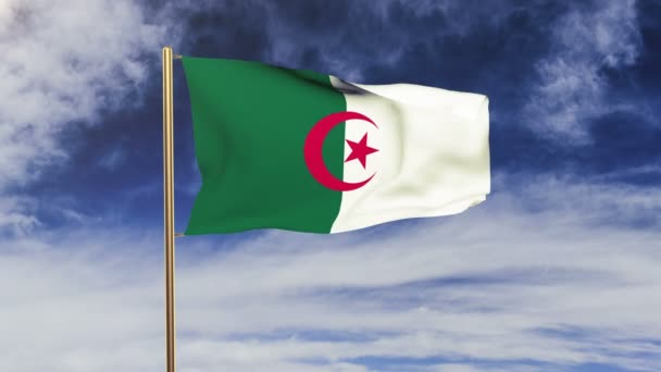 Algeria flag waving in the wind. Green screen, alpha matte. Loopable animation
