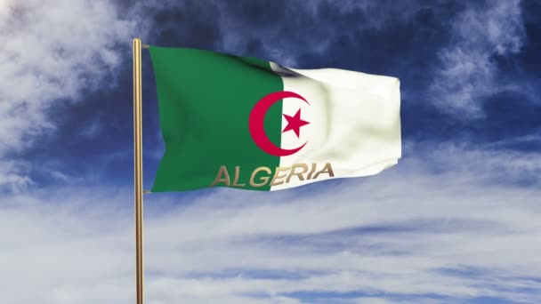 Algeria flag with title waving in the wind. Looping sun rises style.  Animation loop