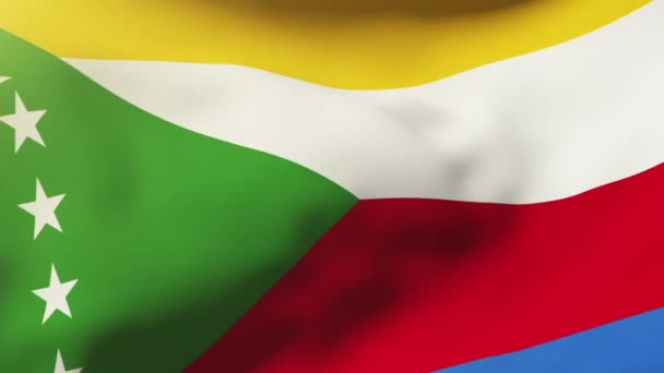 Comoros flag waving in the wind. Looping sun rises style.  Animation loop