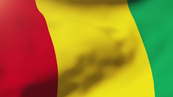 Guinea flag waving in the wind. Looping sun rises style.  Animation loop