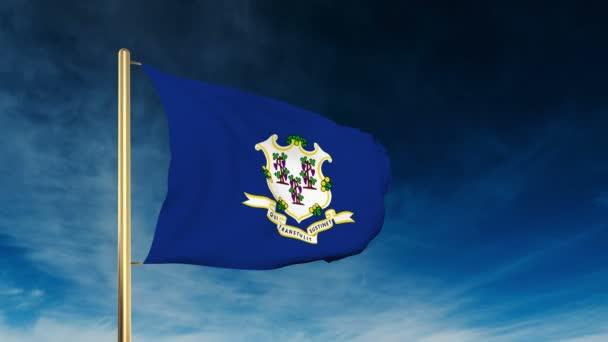 Connecticut zászlót csúszka stílusban. Integetett a győzelem a felhő háttér animáció