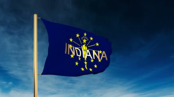 indiana flag slider style with title. Waving in the wind with cloud background animation