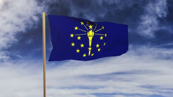 indiana flag waving in the wind. Green screen, alpha matte. Loopable animation