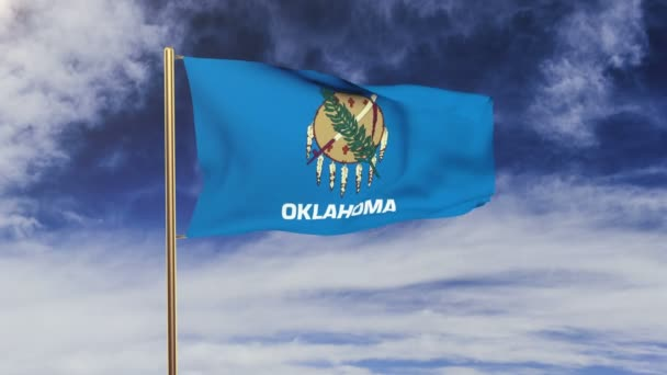 oklahoma flag waving in the wind. Green screen, alpha matte. Loopable animation