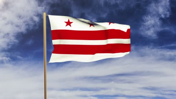washington dc flag waving in the wind. Green screen, alpha matte. Loopable animation