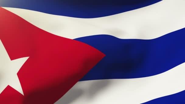 Cuba flag waving in the wind. Looping sun rises style.  Animation loop
