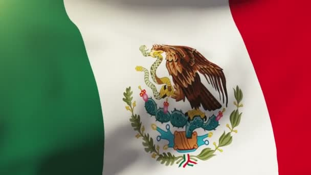 Mexico flag waving in the wind. Looping sun rises style.  Animation loop