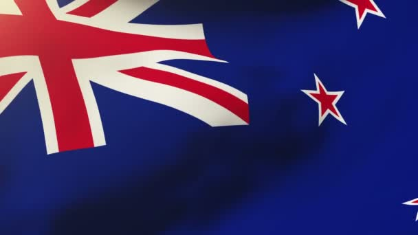 New Zealand flag waving in the wind. Looping sun rises style.  Animation loop