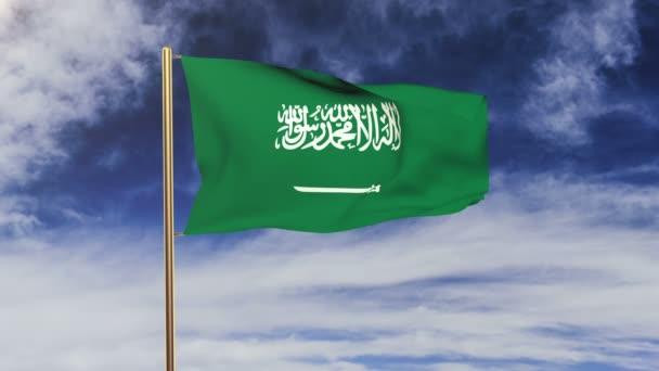 Saudi Arabia flag waving in the wind. Green screen, alpha matte. Loopable animation