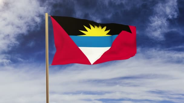 Antigua And Barbuda flag waving in the wind. Green screen, alpha matte. Loopable animation