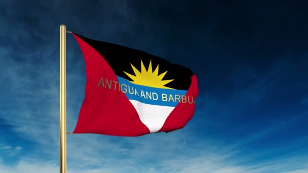 Antigua And Barbuda flag slider style with title. Waving in the wind with cloud background animation