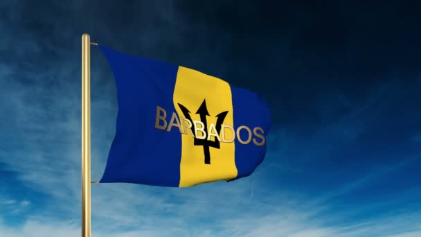 Barbados flag slider style with title. Waving in the wind with cloud background animation