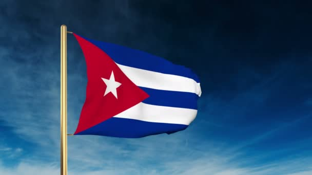 Cuba flag slider style. Waving in the win with cloud background animation