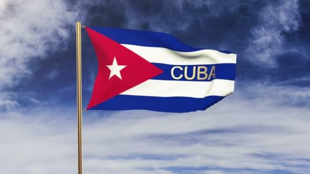 Kubánská vlajka s hlavou mávající ve větru. Styl slunce stoupá. Animační smyčka