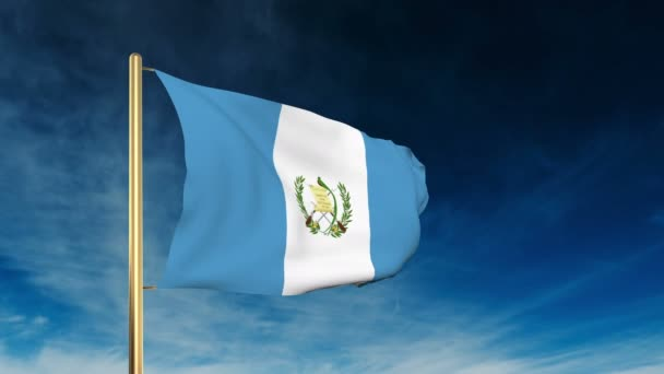 Guatemala flag slider style. Waving in the win with cloud background animation