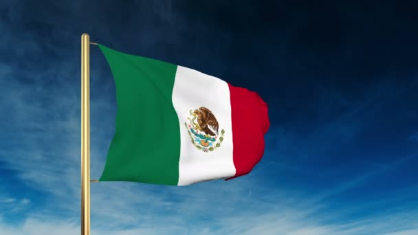 Mexico flag slider style. Waving in the win with cloud background animation