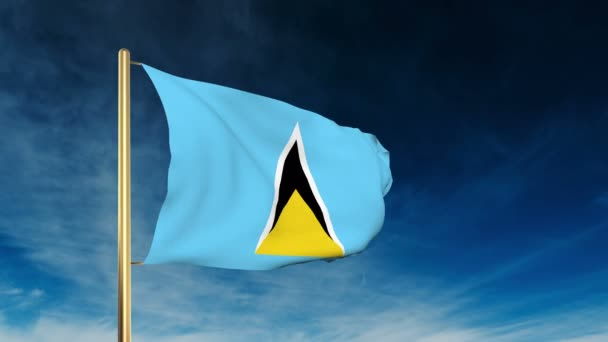 Saint Lucia flag slider style. Waving in the win with cloud background animation