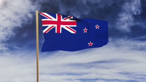 New Zealand flag waving in the wind. Green screen, alpha matte. Loopable animation