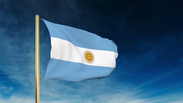 Argentina flag slider style. Waving in the win with cloud background animation