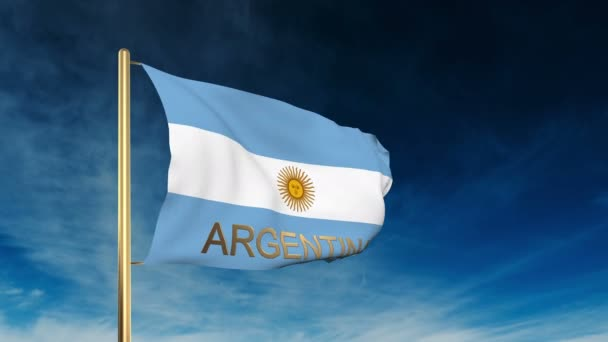 Argentina flag slider style with title. Waving in the wind with cloud background animation