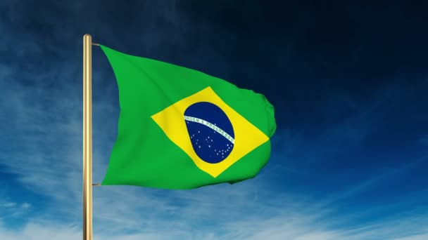 Brazil flag slider style. Waving in the win with cloud background animation