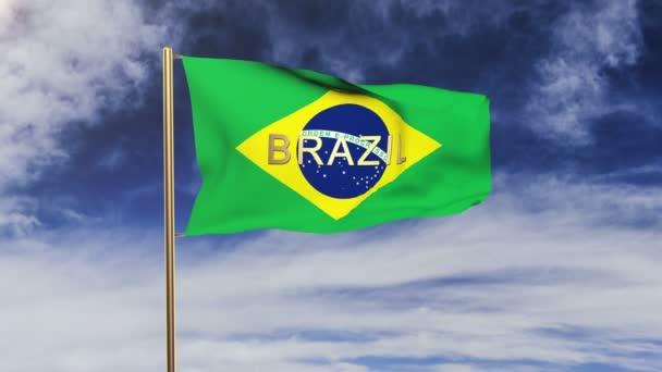 Brazília zászló a címet integetett a szél. Looping v. emelkedik stílus. Animáció-hurok