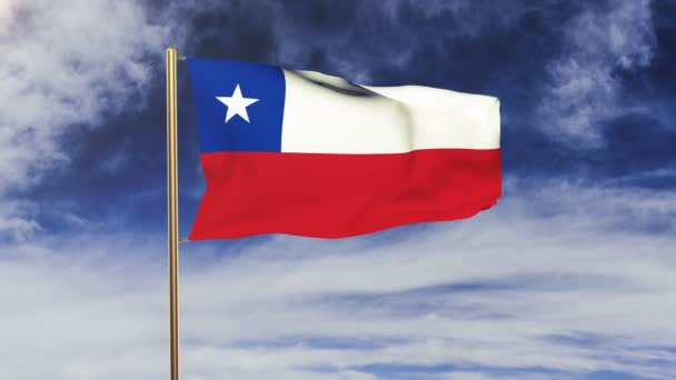 Chile flag waving in the wind. Green screen, alpha matte. Loopable animation