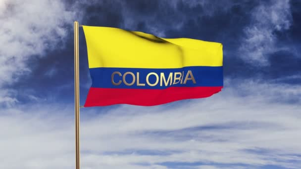 Kolumbijská vlajka s titulem máváním ve větru. Styl slunce stoupá. Animační smyčka
