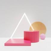 3D vykreslování podstavce pódia, Abstraktní minimální displej prázdný prostor. Geometrie pódium pro kosmetické výrobky nebo vitríny.