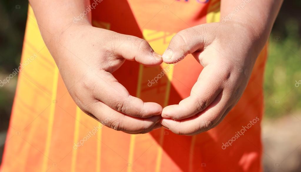 Asia boy make hand in heart form love. — Stock Photo © KittikornPh ...