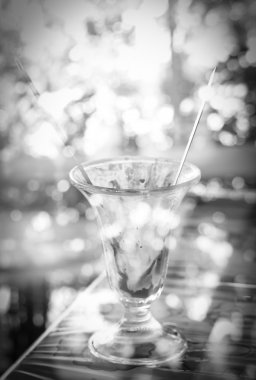 Black and white tone of Creative double exposure cup of ice-crea