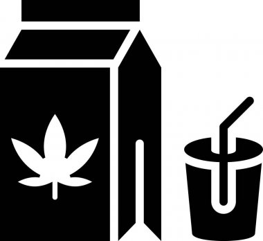 Line vector icon, pack with Cannabis beverage and cup icon