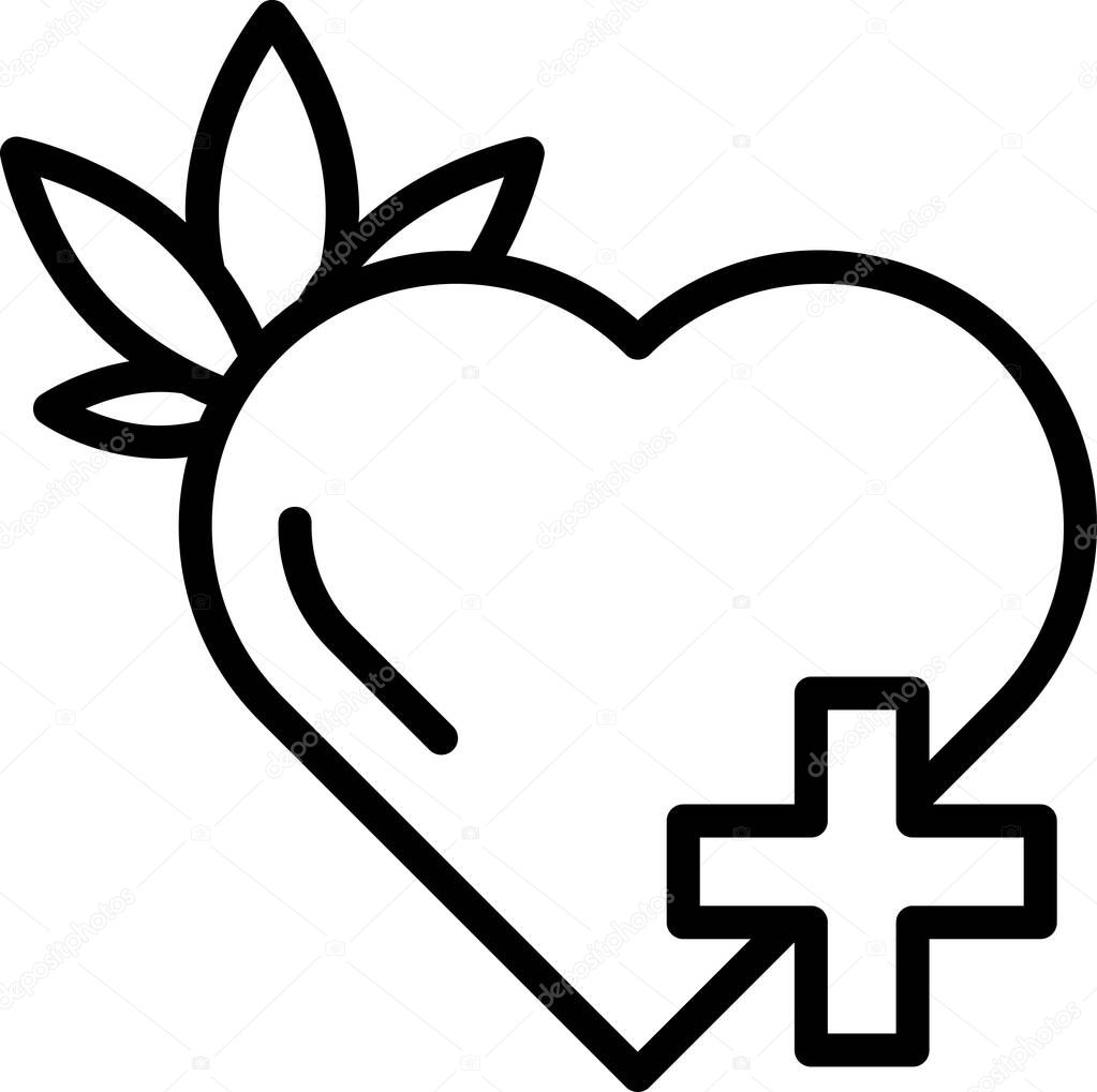 Line vector icon with heart and leaf of Cannabis icon
