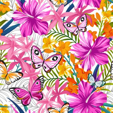 Seamless exotic pattern with tropical leaves, flowers and butterflies. Blooming jungle.