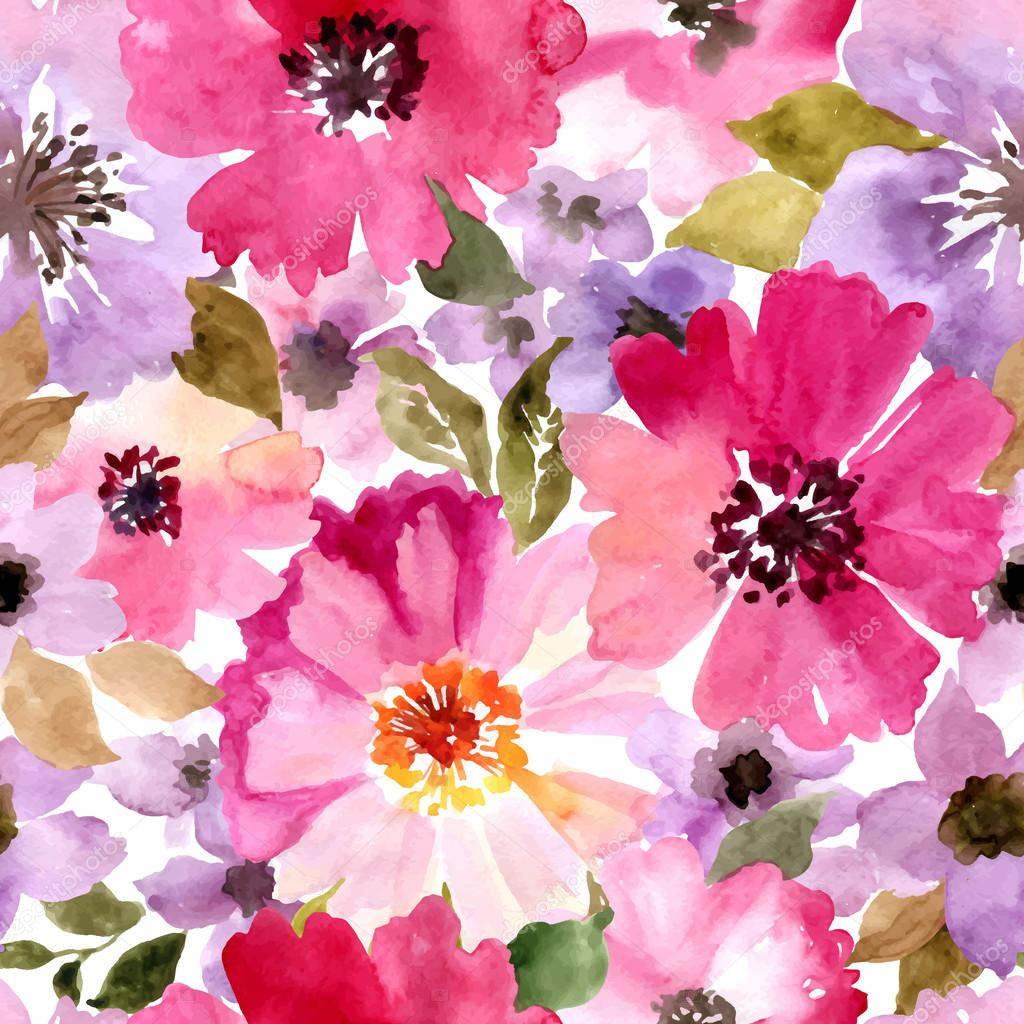 Beautiful seamless floral pattern. Watercolor painting