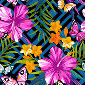 Seamless pattern with butterflies and flowers