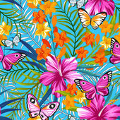 Photo Bright pattern with butterflies and flowers