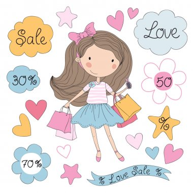 Vector illustration of cute happy girl holding shopping bags. Summer sale. stock vector