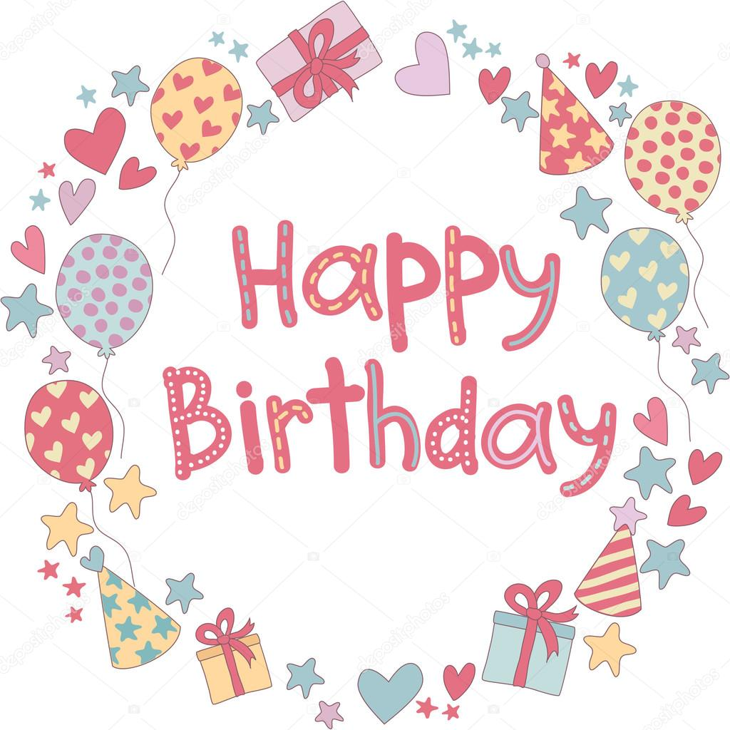 marco de feliz cumpleaños — Archivo Imágenes Vectoriales ...