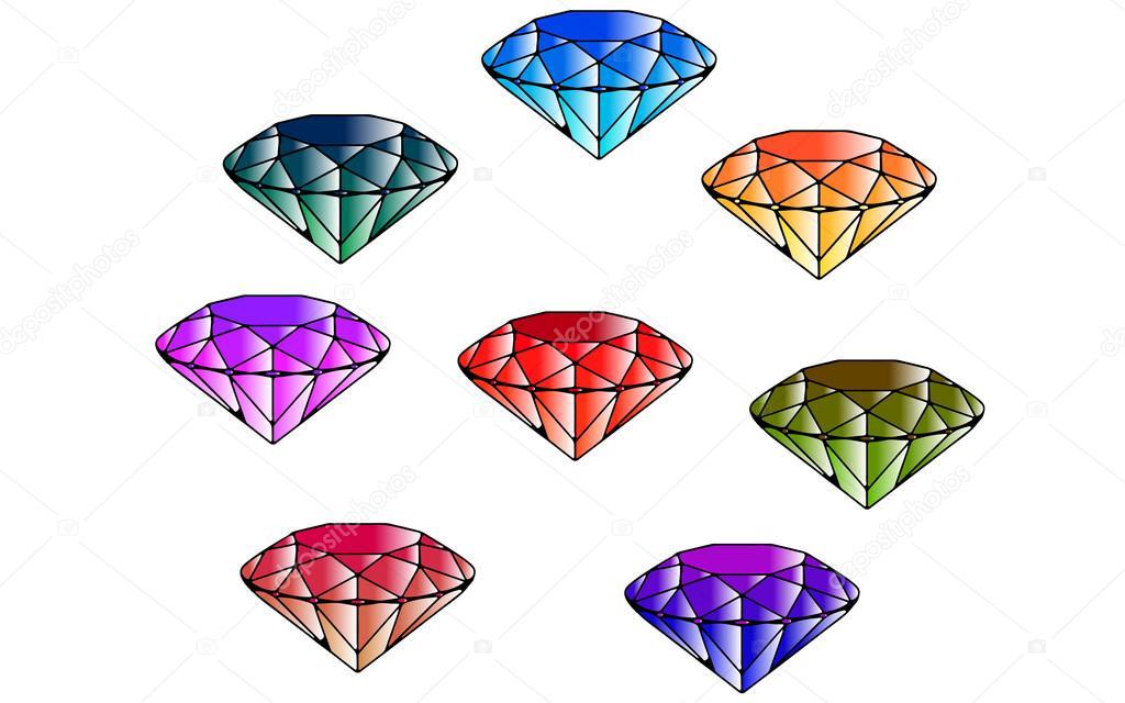 Esmeraldas de color. Ocho diamantes. Corte de gemas. Estilo de ...