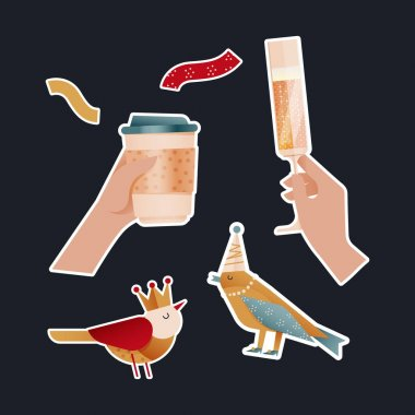 Party Sticker Pack. Modern Flat Vector Concept Illustrations. Hand Hold Cup to Go, Hand Hold Glass with Drink, Bird Kinds in Crown and Party Hat and Decoration Icons. Social Media Ads. icon