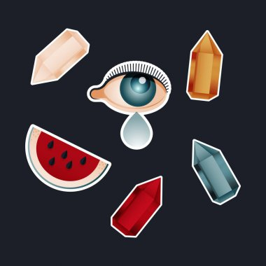 Vintage Retro Sticker Pack. Modern Flat Vector Concept Illustrations. Old-Fashioned Color Kinds of Stone, Eye with Tear, Watermelon Slice. Social Media Ads. icon