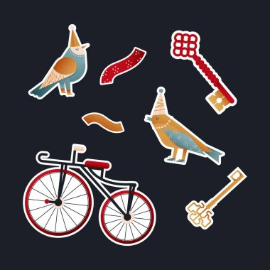 Cute Party Bird Pack. Modern Flat Vector Concept Illustrations. Kinds of Party Birds with Party Hat, Old-fashioned Bicycle, Key Kinds. Social Media Ads. icon