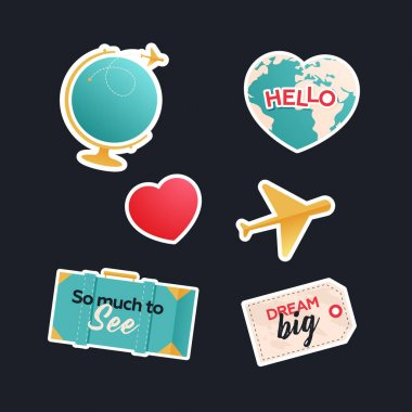 Travel Sticker Pack. Modern Flat Vector Concept Illustrations. Globe with Plane, Heart Shape Globe, Plane, Suitcase, Tag with Sign. Social Media Ads. icon