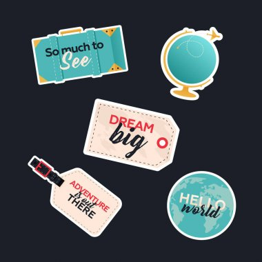 Travel Sticker Pack. Modern Flat Vector Concept Illustrations. Globe with Plane, Suitcase, Tags with Sign. Social Media Ads. icon